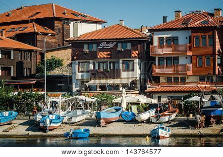 NESSEBAR BULGARIA AUGUST 31 2015: View on street Angelo Roncalli in old town of Nessebar. Ancient city of Nessebar is a UNESCO world heritage site.