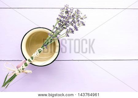 Organic lavander flowers on the lillac background