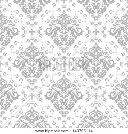 Seamless damask vector light silver pattern. Traditional classic orient ornament