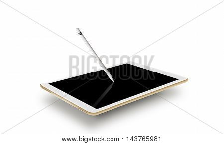 Mockup gold tablet realistic style with stylus. Isolated on white background 3d illustration. Nice tab mock up for web design presentation. Pda blank touch screen graphic pencil on monitor. Digitizer input device.