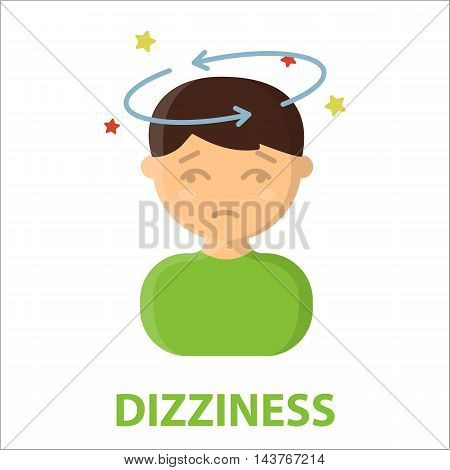 Dizziness icon cartoon. Single sick icon from the big ill, disease collection.