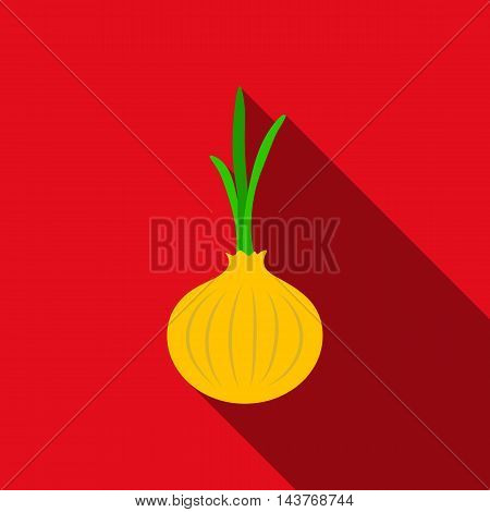 Onion icon flat. Singe vegetables icon from the eco food flat.