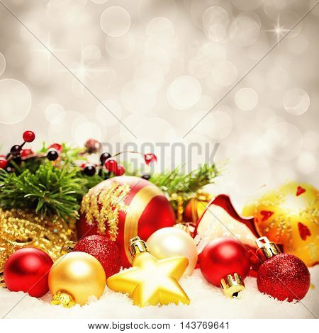 Christmas Decoration Border on Twinkled Snow Bokeh Background for Christmas Card