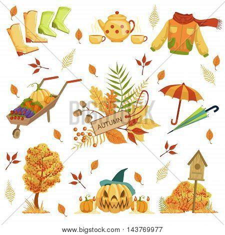 Set Of Autumn Related Objects. Seasonal Symbols In Cute Detailed Cartoon Style On White Background.