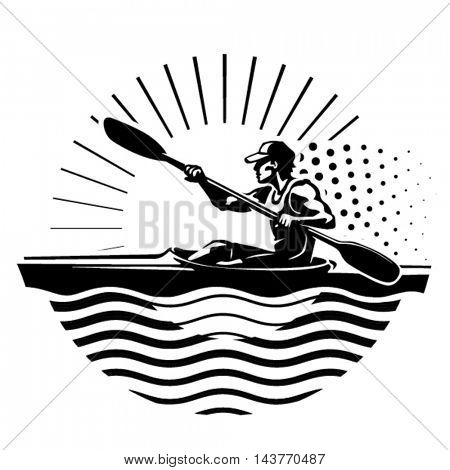 Rowing emblem. Sport illustration in the engraving style