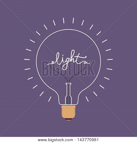 Shining light bulb with a word Light from the metal wire inside. Purple background. Consept cartoon flat-style illustration