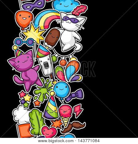 Carnival party kawaii seamless pattern. Cute sticker cats, decorations for celebration, objects and symbols.