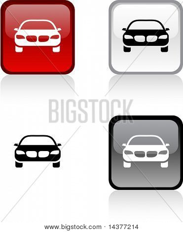 Car glossy square vibrant buttons.