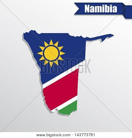 Namibia map with flag inside and ribbon