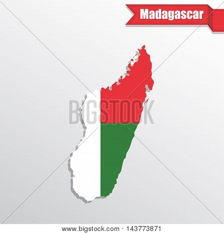 Madagascar map with flag inside and ribbon