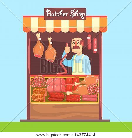 Butcher Behind Market Counter With Assortment Of Meat. Bright Color Graphic Cool Flat Vector Detailed Illustration.