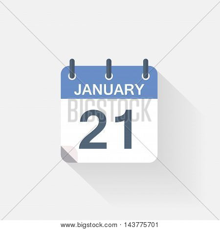 21 january calendar icon on grey background poster