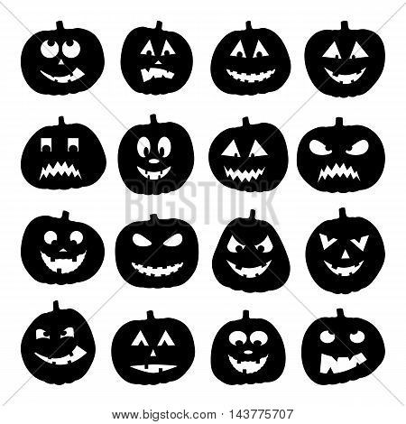 Set of 16 halloween pumpkins, vector illustration