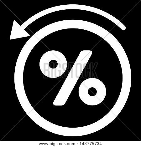 Rebate Percent icon. Vector style is flat iconic symbol with rounded angles, white color, black background.