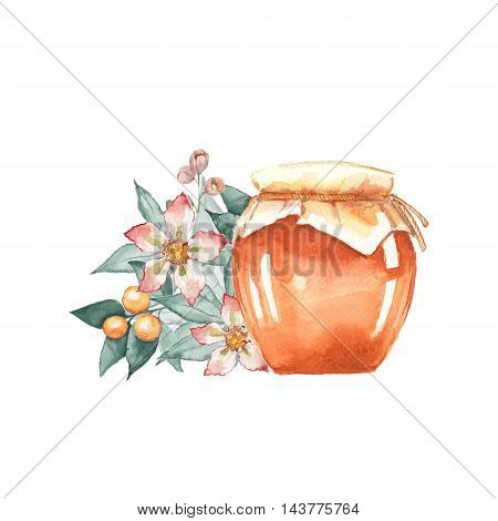 Honey jar and flower. Hand drawn watercolor illustration