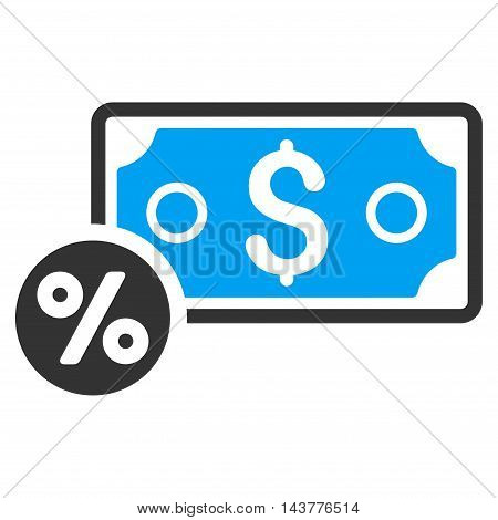 Banknote Percent icon. Vector style is bicolor flat iconic symbol with rounded angles, blue and gray colors, white background.