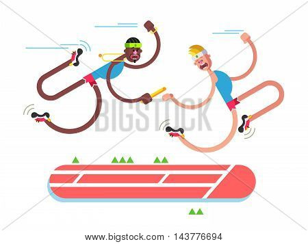 Relay athletics design. Competition and runner, action sprint team, flat vector illustration