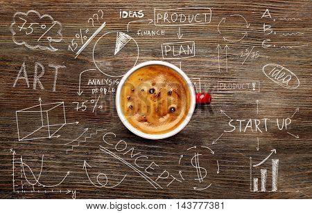 Cup of tasty coffee on wooden background. Sketch of business plan.