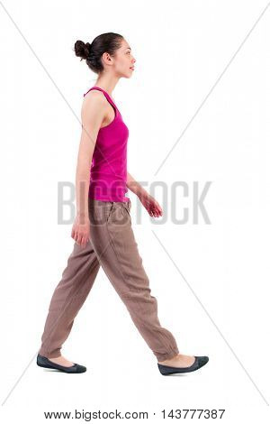 back view of walking  curly woman.  backside view of person.  Rear view people collection. Isolated over white background. dark-skinned girl is. side view.
