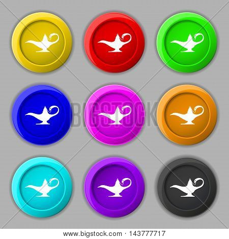 Alladin Lamp Genie Icon Sign. Symbol On Nine Round Colourful Buttons. Vector