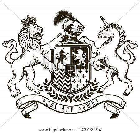 Vector heraldic illustration in vintage style with shield, crown, unicorn and lion for design