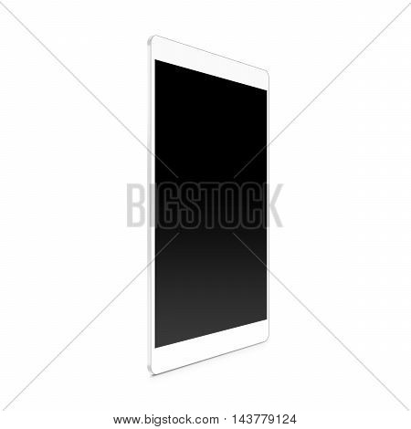 White tablet blank screen mock up profile stand 3d illustration.