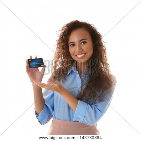 Attractive woman holding credit card on white background