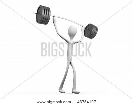 A cartoon weight lifter. 3D rendered Illustration.