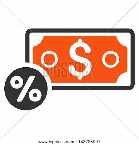 Banknote Percent icon. Vector style is bicolor flat iconic symbol with rounded angles, orange and gray colors, white background.