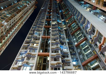 Tall building from low angle at night