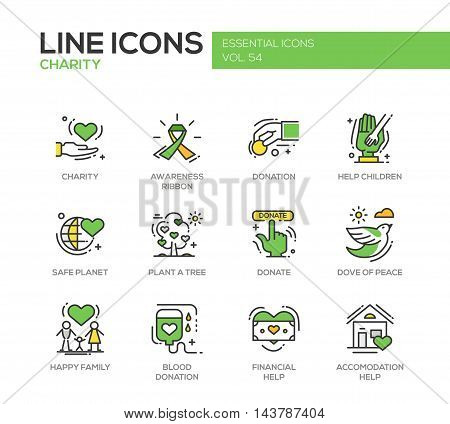 Charity - modern vector line design icons and pictograms set. Awareness ribbon, donation, help children, safe planet, plant a tree, dove of peace, happy family, blood donation, financial, accommodation help