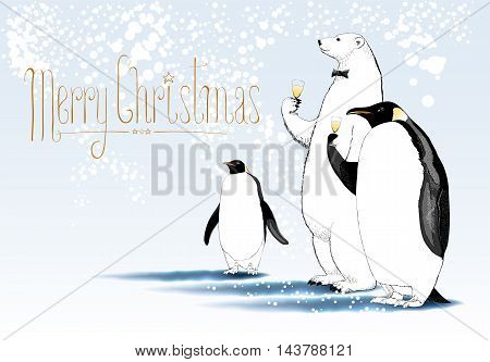 Merry Christmas vector greeting card. Party of penguin polar bear characters drinking glass of champagne funny illustration. Design element with Merry Christmas sign hand drawn lettering