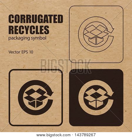 Different appearances of Corrugated Recycles symbol on craft paper background can be used on the box or packaging. Vector EPS 10.