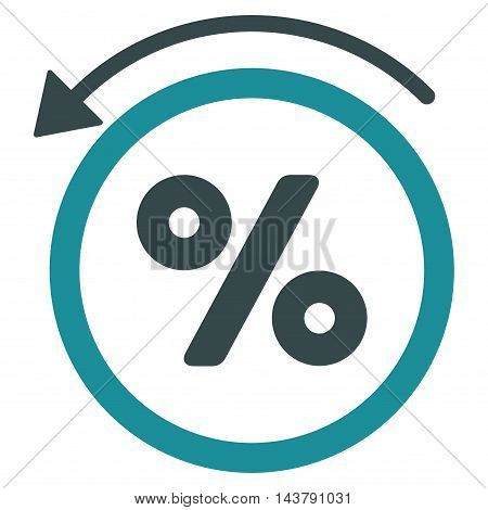 Rebate Percent icon. Vector style is bicolor flat iconic symbol with rounded angles, soft blue colors, white background.