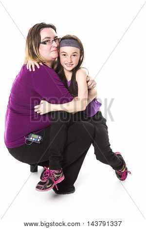A mother and her daughter with isolated background