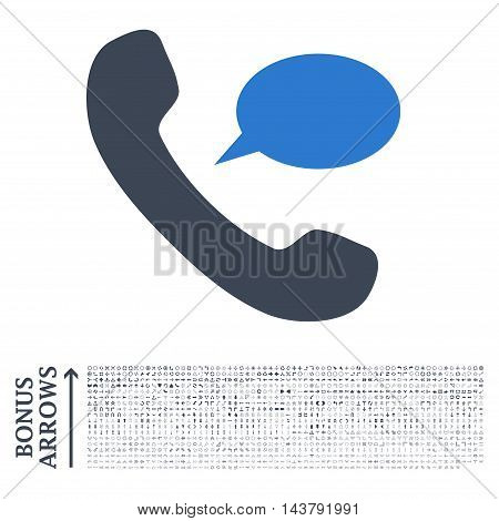 Phone Message icon with 1200 bonus arrow and navigation pictograms. Vector illustration style is flat iconic bicolor symbols, smooth blue colors, white background.