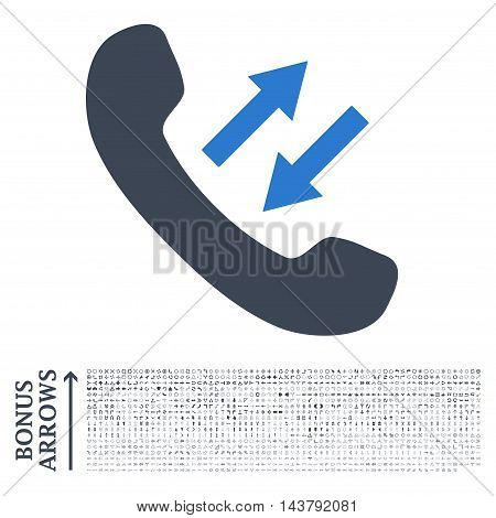 Phone Talking icon with 1200 bonus arrow and direction pictograms. Vector illustration style is flat iconic bicolor symbols, smooth blue colors, white background.