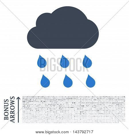 Rain Cloud icon with 1200 bonus arrow and navigation pictograms. Vector illustration style is flat iconic bicolor symbols, smooth blue colors, white background.