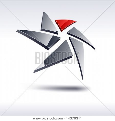 Abstract modern 3d geometric  symbol. Vector.