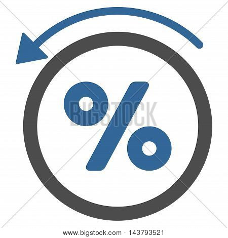 Rebate Percent icon. Vector style is bicolor flat iconic symbol with rounded angles, cobalt and gray colors, white background.