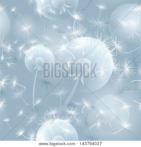 Hand drawn blue-white-grey vector seamless pattern illustration with dandelion blowball. .