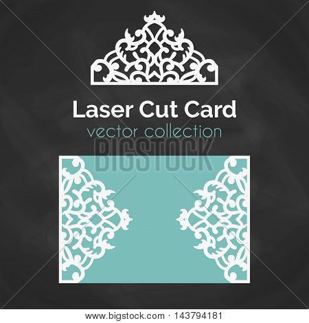 Laser Cut Card. Template For Laser Cutting. Cutout Illustration With Abstract Decoration. Die Cut Wedding Invitation Card. Vector envelope design. poster