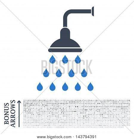 Shower icon with 1200 bonus arrow and navigation pictograms. Vector illustration style is flat iconic bicolor symbols, smooth blue colors, white background.