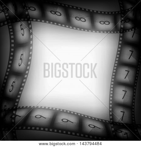Old movie films vintage background with free space inside, vector illustration for you designs on movies theme