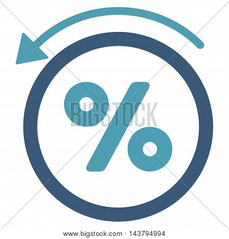 Rebate Percent icon. Vector style is bicolor flat iconic symbol with rounded angles, cyan and blue colors, white background.