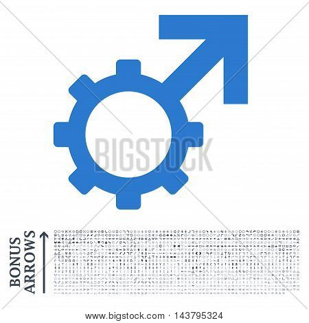 Technological Potence icon with 1200 bonus arrow and navigation pictograms. Vector illustration style is flat iconic bicolor symbols, smooth blue colors, white background.