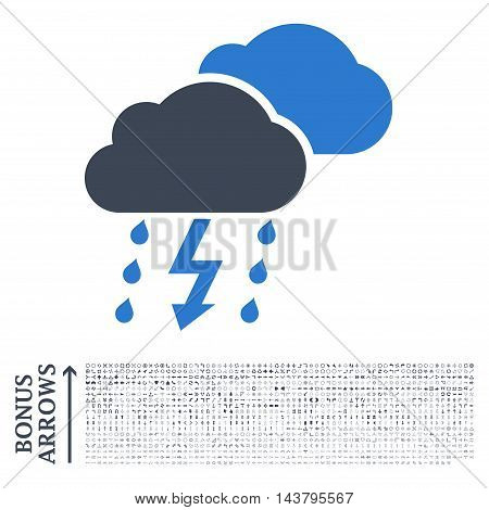 Thunderstorm icon with 1200 bonus arrow and navigation pictograms. Vector illustration style is flat iconic bicolor symbols, smooth blue colors, white background.