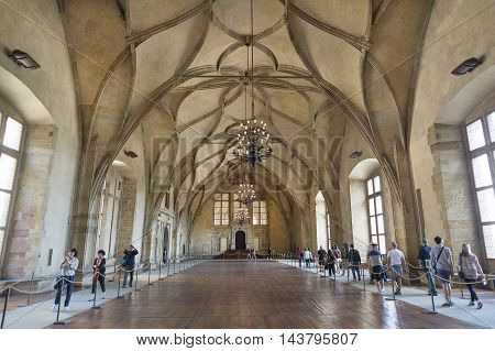 PRAGUE, CZECH REPUBLIC, JULY 7,2016: Interior of Vladislav Hall, a large room within the Prague Castle complex, used for large public events of the Bohemian monarchy and the modern Czech state.