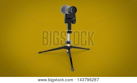 3d illustration of US Military Sniper Spotter Scope. yellow background isolated. icon for game web. tool for army and soldiers.