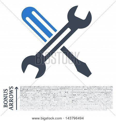 Tuning icon with 1200 bonus arrow and direction pictograms. Vector illustration style is flat iconic bicolor symbols, smooth blue colors, white background.